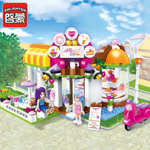 Image 2 - Qman 2003 אבי של קפה סט סדרת חברים עם מיני דמויות חינוכיים אבני בניין צעצועי בנות DIY Creative מתנות 277PCS