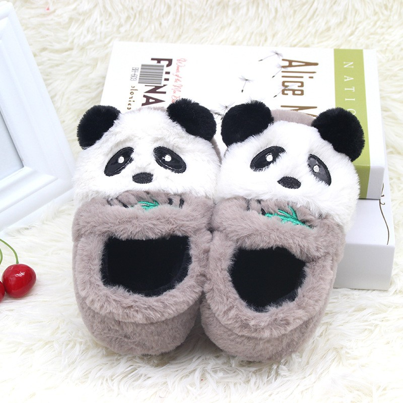 Panda Slippers Cute Animal Print Girl Slippers Soft And Warm Plush Children's Slippers Winter Boots Socks 2-7 years old Children