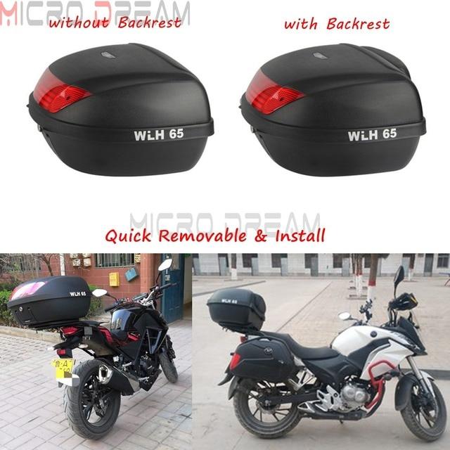 Motorrad 52L Große Topcase Schnell Abnehmbare Schwanz Box Für Honda Yamaha Kawasaki BMW Roller Stamm Top Fall Cargo-Box w /rückenlehne