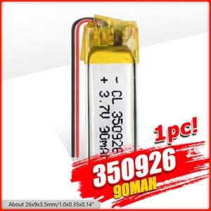 350926 3.7V 90mAh Lipo Battery Replacement li-ion Lipo Batteries Lithium Li-Po Polymer Rechargeable Bateria For MP3 MP4 GPS(China)