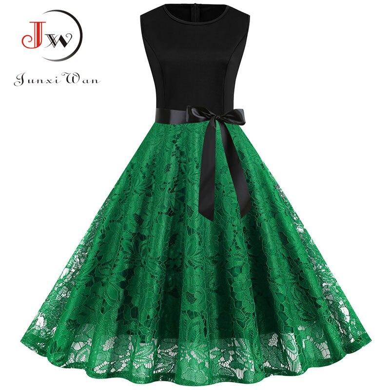 Women Summer Dress 50S 60S Elegant Vintage Lace Dress Robe Femme Sleeveless Party Casual Plus Size Black Midi Vestidos Plus Size