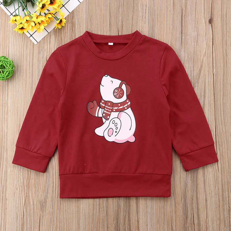 New Year Christmas Family Clothes Bear Printed Parents Daughter Son Cotton Top Shirt Unisex Sweartshirts Family Matching Outfits