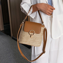 SWDF Small Straw Bucket Bags For Women 2021 Summer Crossbody Bags Lady Travel Purses and Handbags Female Shoulder Messenger Bag