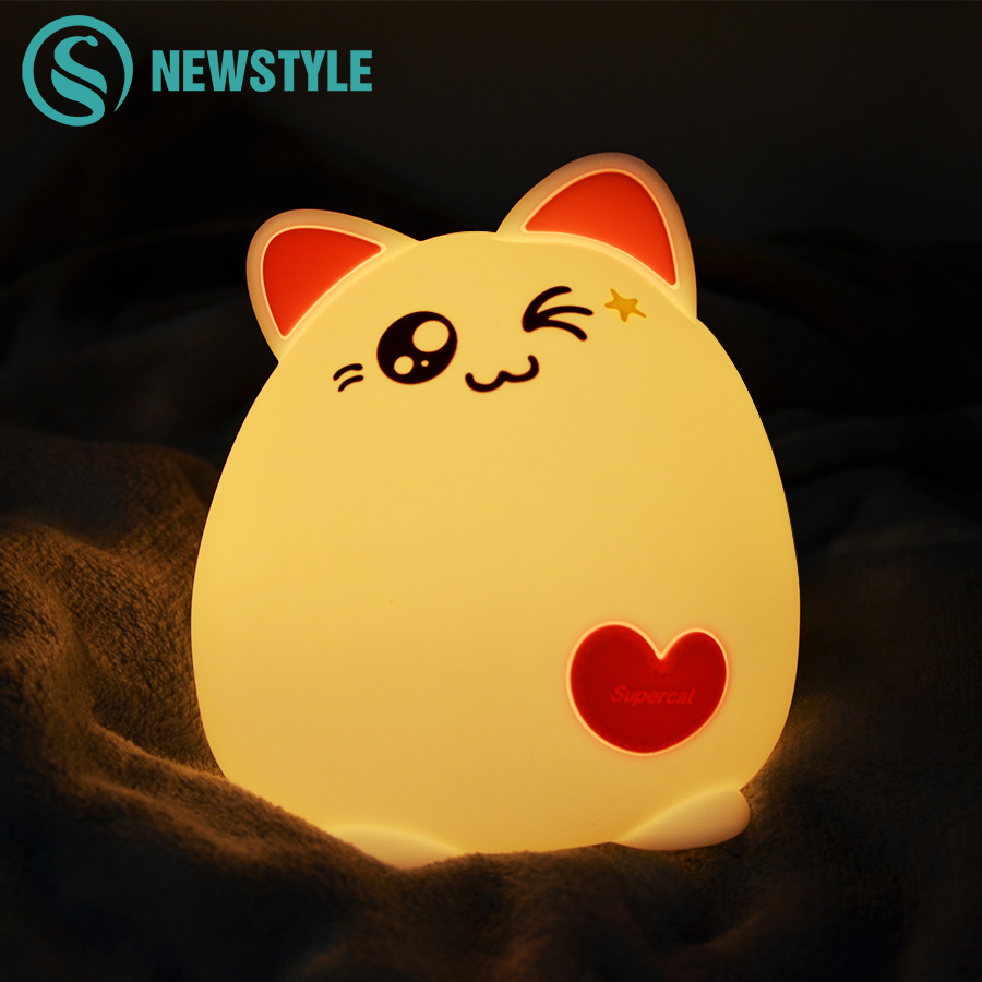 Cute Cat Night Light Soft Silicone Night Lamp For Kids Baby Tap Control Color Changing Gilrs Bedroom Nightlight Lovely Gift