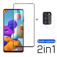 2-em-1 vidro temperado para samsung galaxy a21s câmera protetor de tela para samsung galaxy a21 s a 21 s 21 s película protetora