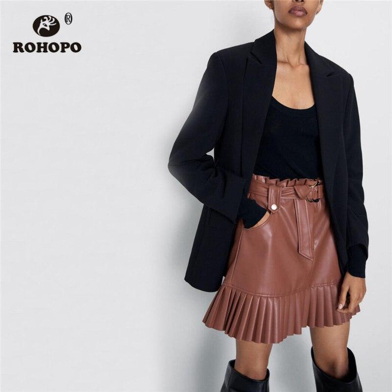 ROHOPO Overlocked Waist Buckle Belted PU Leather Skirt Ruffled Hem Side Welted Pockets Zipper Fly Female Mini Falda #2330