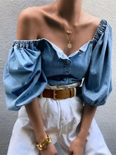 2019 Autumn Women Elegant Sexy Blue Casual Shirt Female Elastic Vacation Top Off Shoulder Lantern Sleeve Denim Blouse off shoulder scallop trim denim blouse