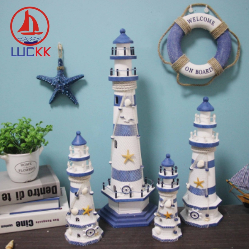 LUCKK Mediterranean Style Stripe Lighthouse Wooden Model Handicraft Home Decorations Creative Marine Arts And Crafts Ornaments