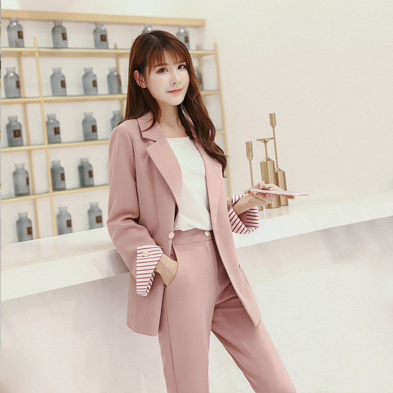 2019 Vintage Pink Women Suits Double Breasted Female Pants 2 Pieces Sets Blazer Jacket & Pencil Pants Casual Suits