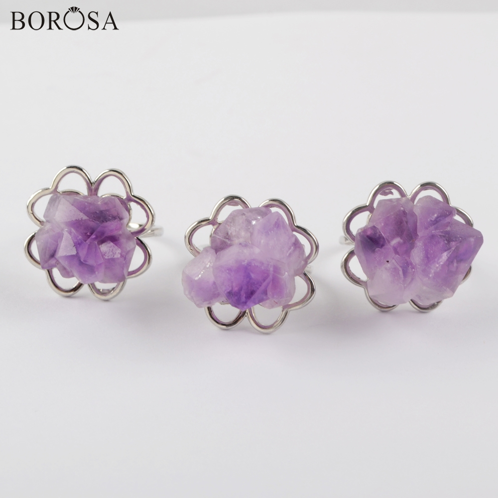 BOROSA 5/10Pcs <font><b>Raw</b></font> Natural Amethysts <font><b>Crystal</b></font> <font><b>Rings</b></font> Silver <font><b>Ring</b></font> Purple Quartz <font><b>Ring</b></font> for Women Jewelry Wedding <font><b>Rings</b></font> Jewelry ZG0436 image
