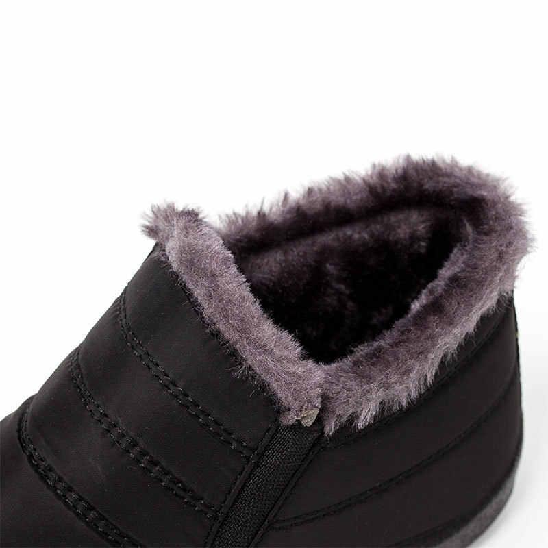 2019 Kadın Kış Çizmeler Kadın yarım çizmeler Sıcak kaymaz Düz Kış Ayakkabı Kar Botları Kürk Büyük Boy 35 -45