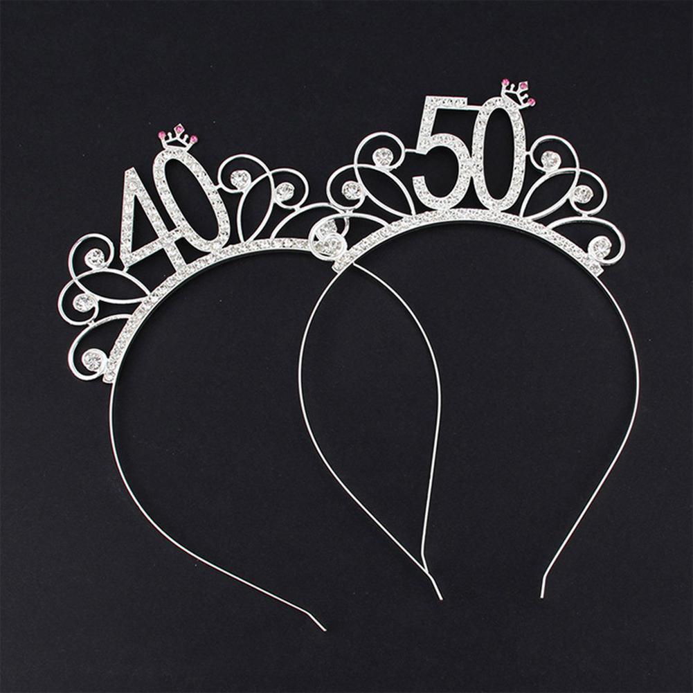 16/18/21/30/40/50/60/80 Birthday Party Tiara Crown Headband Hair Loop Decoration