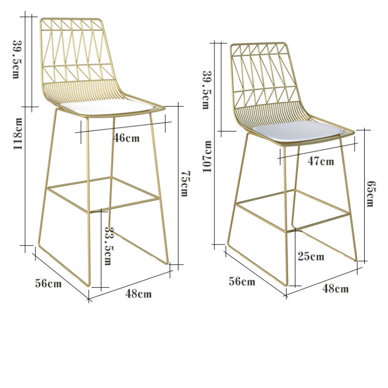 Nordic Bar Stool Chair Combination Leisure Table Chair Combination Bar Chair Iron Chair Gold High Foot Table Chair Dining Chair
