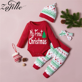 ZAFILLE Chirstmas clothes for baby 3Pcs Christmas Elk Print Outfits With Hat Newborn Baby Clothes Girl Set chirstmas Baby boy