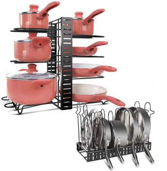Adjustable Kitchen Organizer and Pan Organizer Rack with 8 Tires for Kitchen Accessories