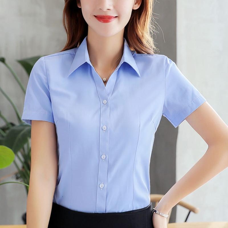Women Shirts Korean Fashion Women Cotton Shirt Plus Size Women Solid V Neck Blouses Shirts Elegant Women White Work Shirt XXXL