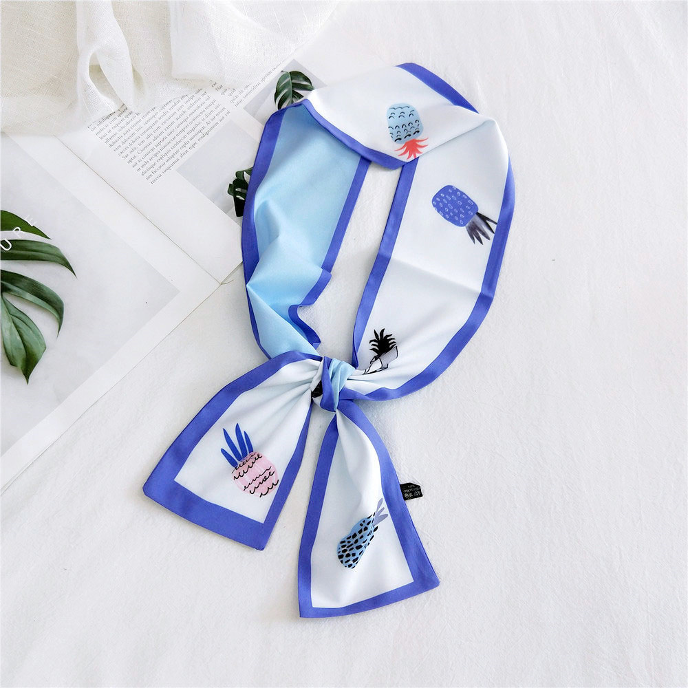 2020 New Women's Silk Stain Hair Head Scarf Bandana Women Small Fruit Polka Dot Print Neck Collar Handle Bag Scarfs For Ladies
