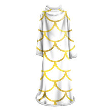 Mermaid Scales Printing Hooded Blanket Thickened Warm Cover for Adults Kids Travel Camping With Sleeve