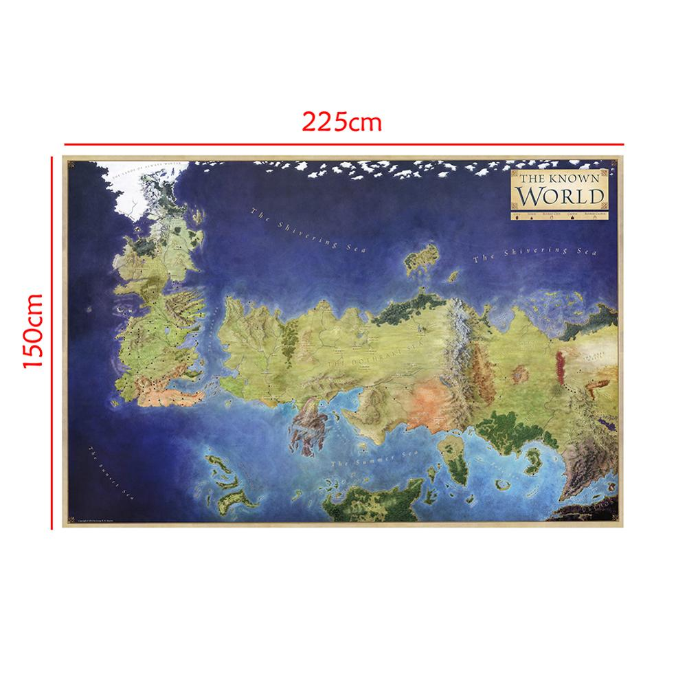 150x225cm Non-woven Map Wall Art The Map Of The Known World Poster Home Bar Decor