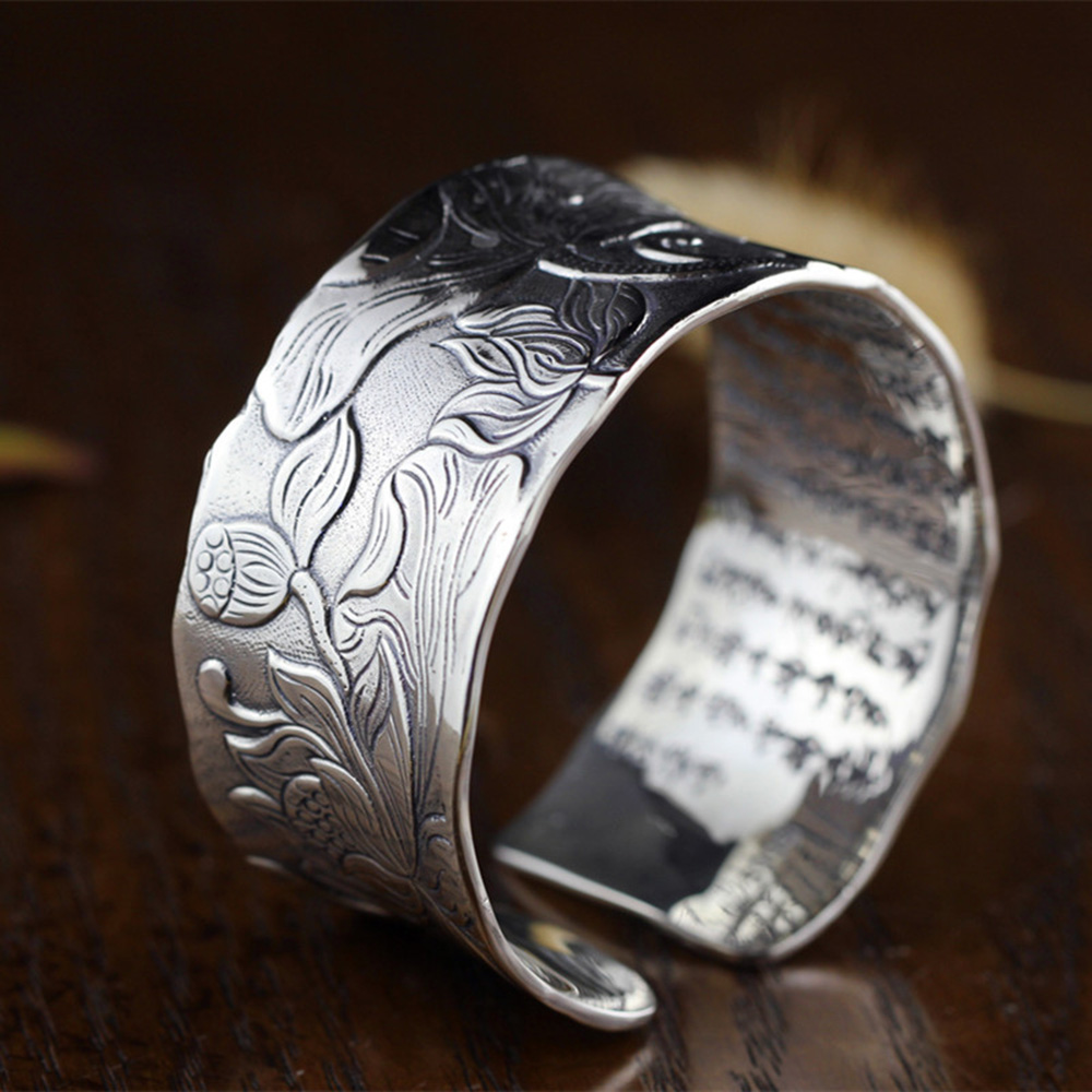 30MM Big Cuff Bangles for Women Lotus Carved Ethnic Open Bangle 925 Sterling Silver Heart Sutra Buddhism Jewelry Gifts Bijoux