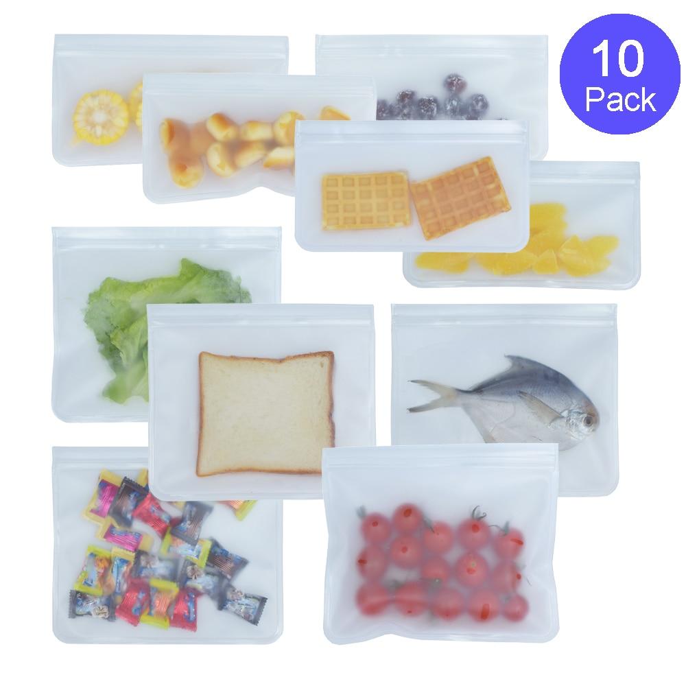 10 упаковок силиконовый экологически чистый мешок для хранения еды многоразовая емкость для заморозки для закусок фрукты Ланч бутерброды-FDA...