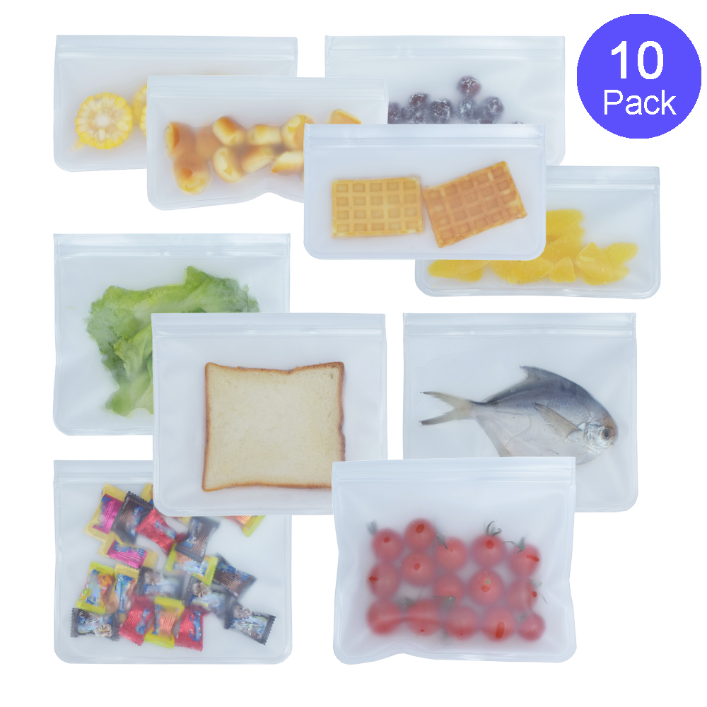 TETOU Silicone Food Storage Bag Reusable Freezer Bag Ziplock Leakproof Top Fruits Lunch Box - FDA Approved BPA Free