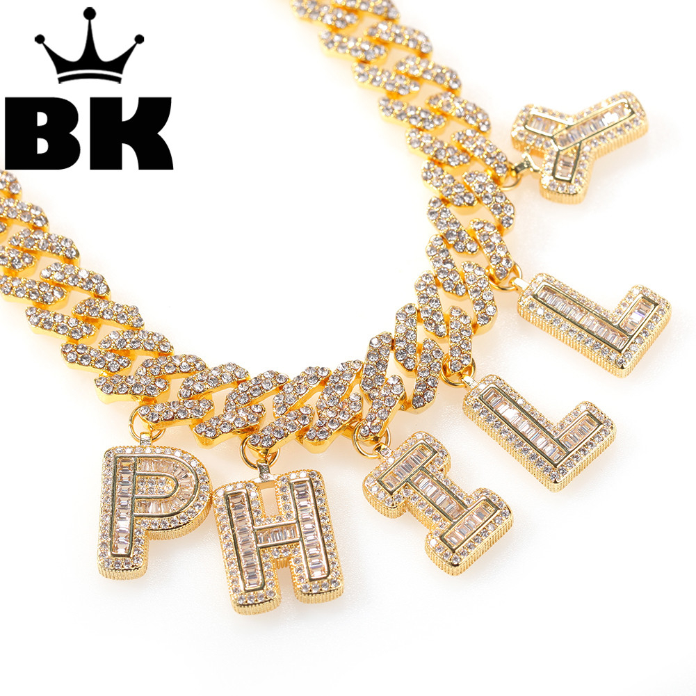 12mm Bagnette Rhinestone Miami Cuban Link Necklace Gold Silver Plated Luxury Ankle Micro Paved CZ Cuban Joining together Chain