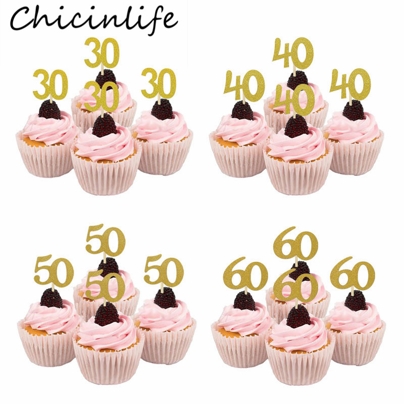 Chicinlife 10Pcs 30 40 50 60 Years Old Cupcake Toppers Birthday Party Anniversary Adult 30th Birthday Cake Accessory Supplies