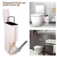 6l plástico lata de lixo com escova de vaso sanitário banheiro lixo bin balde dispensador ferramentas limpeza doméstica