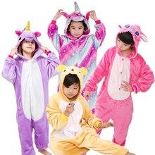 Warm Kids Pajamas Animal Cosplay Onsies Flannel Children s Sleepwear Cat Stitch Panda unicorn pajamas For