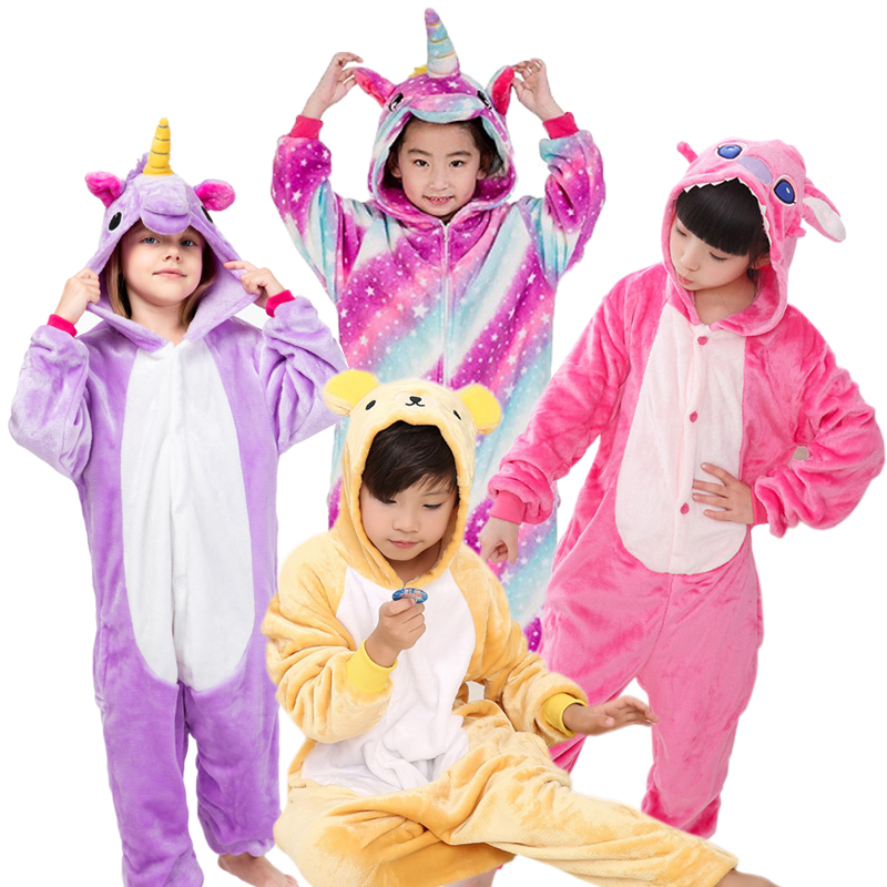 Warm Kids Pajamas Animal Onsies Flannel Children's Sleepwear Cat Stitch Panda unicorn pajamas For Girls Boys Kigurumi Cosplay