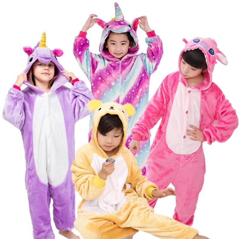 Warm Kids Pajamas Animal Onsies Flannel Children's Sleepwear Cat Stitch Panda Unicorn Pajamas For Girls Boys Kigurumi Cosplay