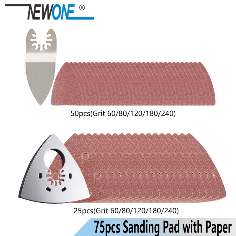 75 Pcs Mix Sanding Paper + 2 Pcs Sanding Pad For Fein Dewalt Black&Decker Multifunction Power Tool,oscillating Tool Accessories