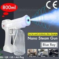 800ml 110v/220v ce casa portátil sem fio pulverizador máquina luz azul nano pistola de vapor desinfecção