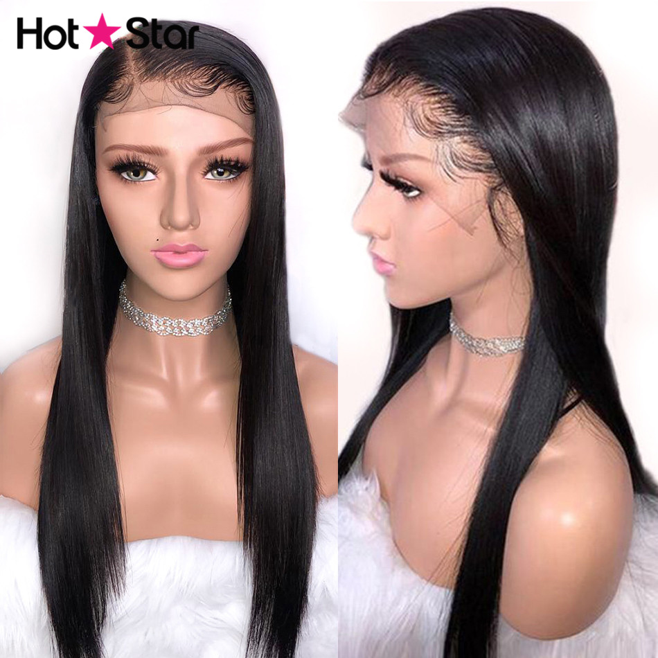 Lace Front Human Hair Wigs Pre plucked With Baby Hair Peruvian Straight Human Hair Wigs For