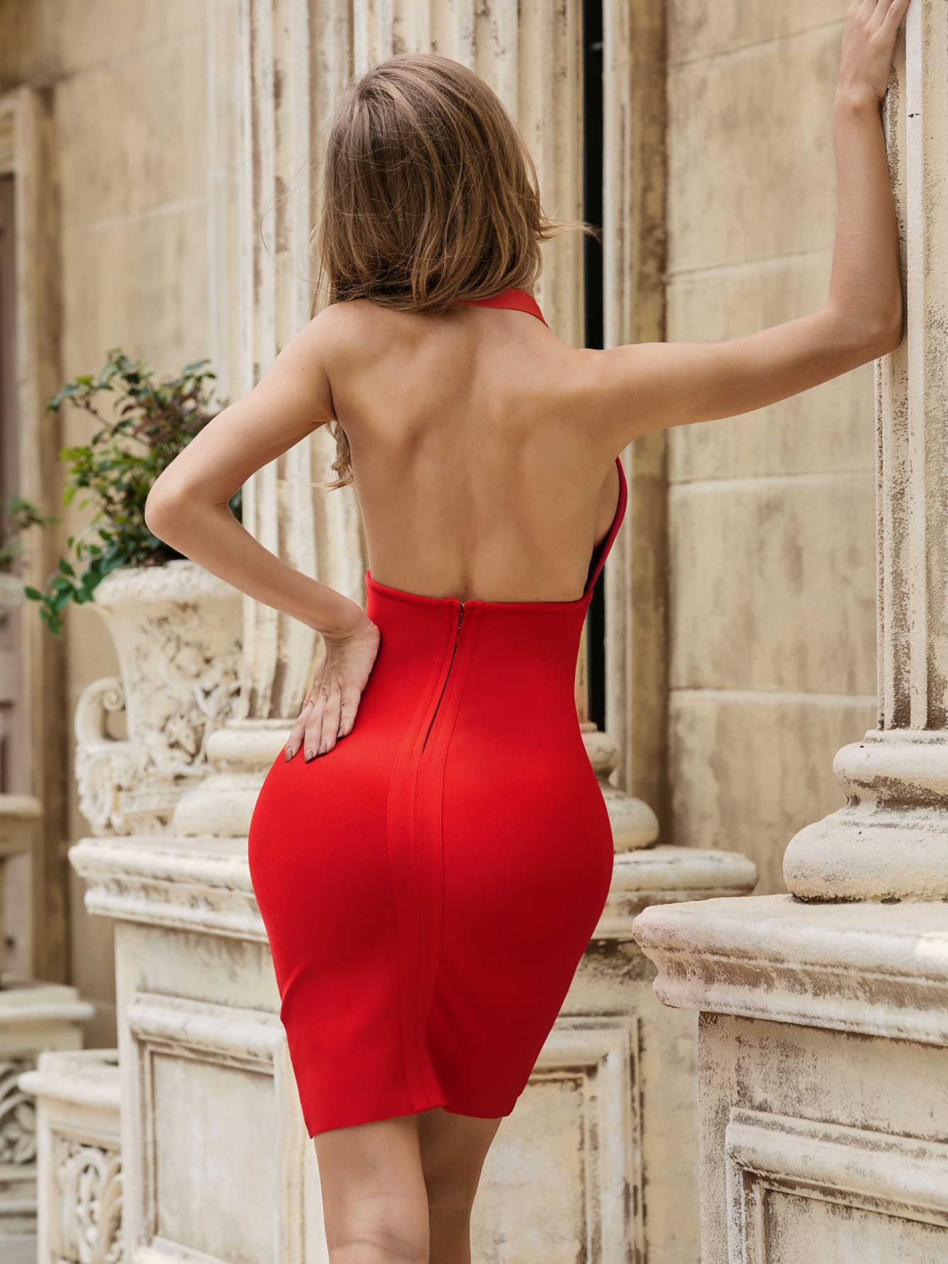 Yaz moda seksi V boyun Halter Backless kırmızı toka Bodycon kadınlar bandaj elbise 2020 zarif akşam parti elbise Vestido