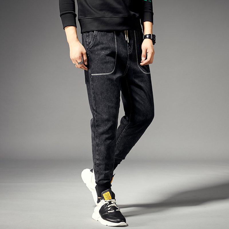 KSTUN Joggers Jeans Men Black Grey Elastic Waist Drawstring Ralaxed Tapered Jeans Male Denim Pants Leisure Cowboys  Homme Jean 14