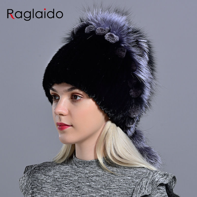 Natural Mink Fur Hats Women Knitted Beanies Stylish Warm Comfortable Girl Hat With Real Fur Fashion Genuine Fox Fur Hat