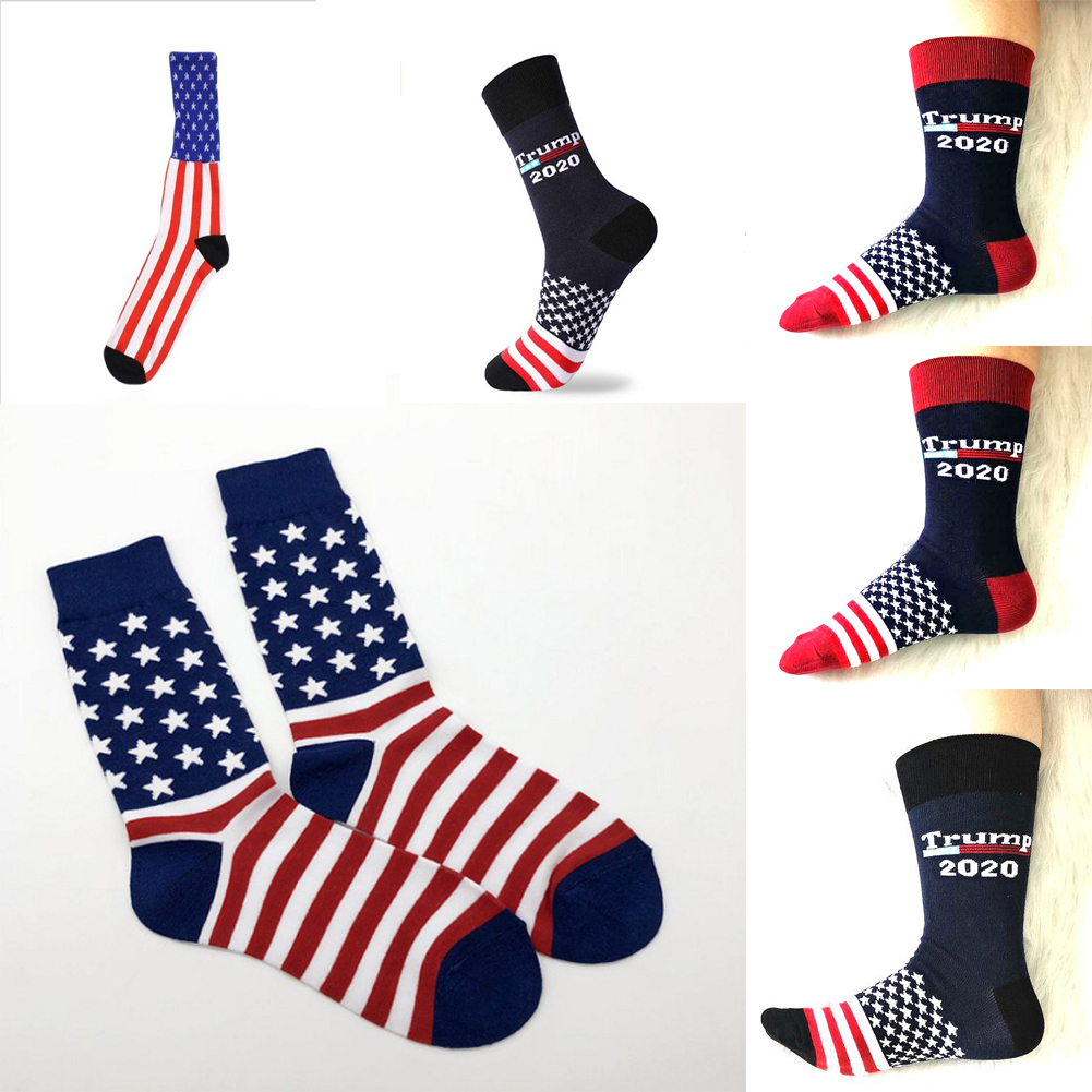Stitching Color America National Flag Printed Socks Trump 2020 Soft Men Cotton Sock Funny Personality Winter Fashion Warm Socks