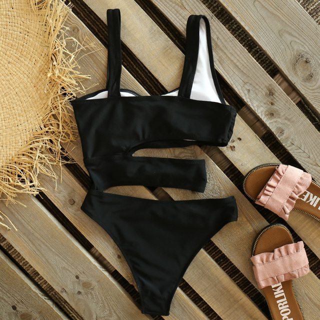 2021 Women New Sexy Black One Piece Swimsuit Women Cut Out Swimwear Push Up Monokini Bathing Suits Beach Wear Swimming Suit 6