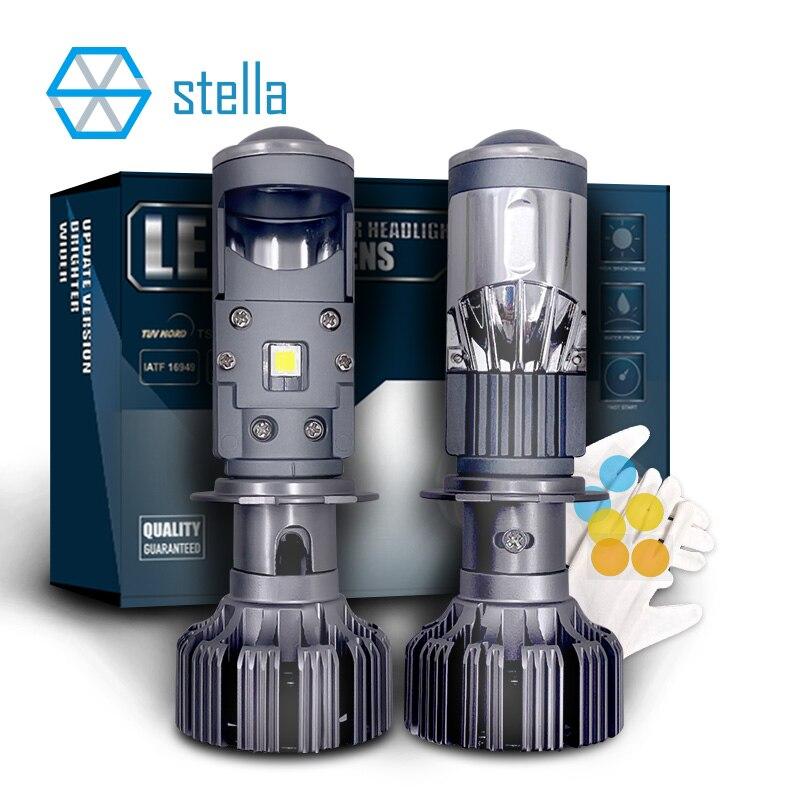 Stella auto H7/H4 мини светодиодные линзы головсветильник лампы проектор головная лампа ближний свет Дальний свет ледяная лампа для автомобиля 55 В...
