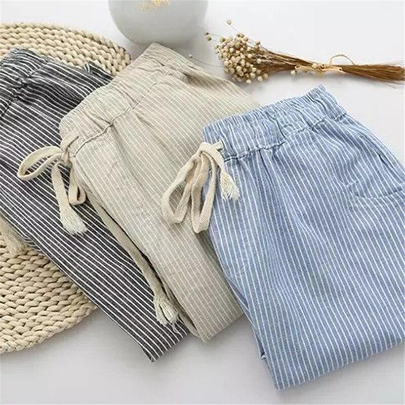 Хлопковые льняные женские повседневные брюки 2020 Модные свободные длинные штаны с эластичной талией прямые Полосатые брюки Pantalon