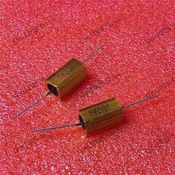 RX24-5W 18R 18RJ Power carcasa de Metal funda de aluminio dorada Resistor bobinado 5W 18ohm 5% resistencias de lámpara LED para automóvil