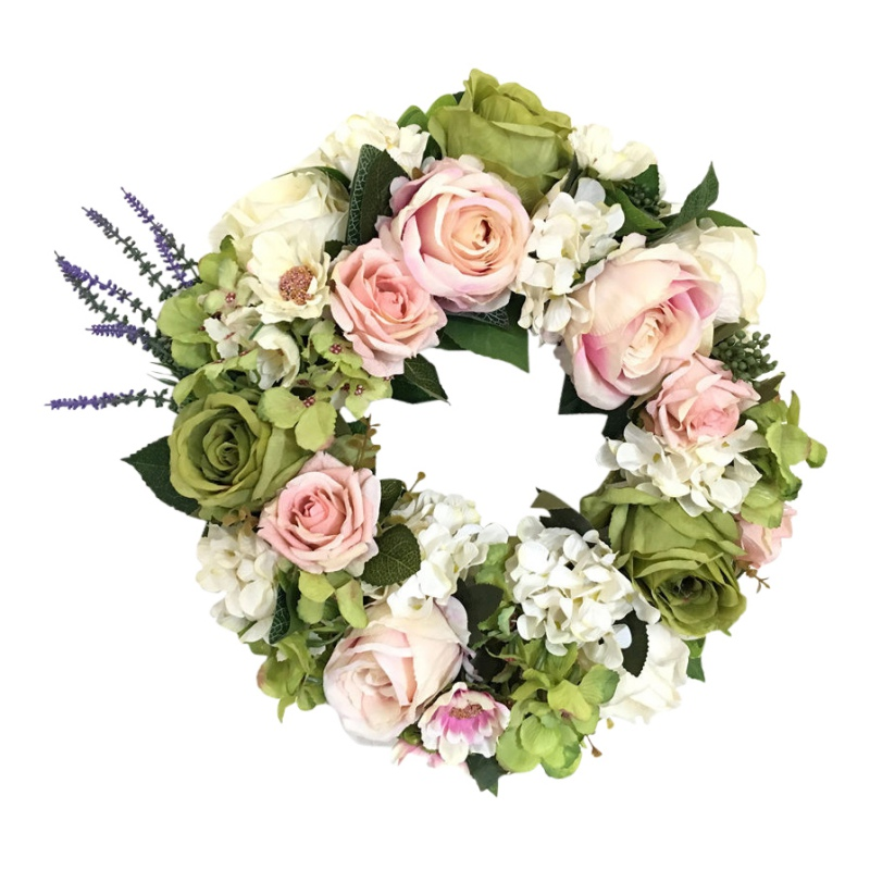 Round Shape Floral Loop Farmhouse Decor 38cm Artificial Rose Flowers Wreath Beautiful Wedding Party Home Hanging Decoration image
