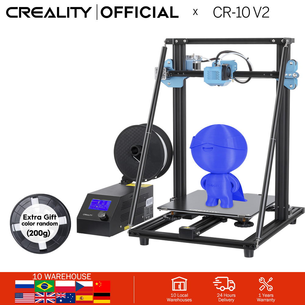 CREALITY 3D Upgrade CR-10 V2 Printer Size 300 300 400mmSilent Mainboard Resume Printing with Mean well Power Supply