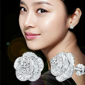2021 Authentic Silver Color Jewelry Flower Stud Earrings For Women Jewelry Ed74 Brincos Para As Mulheres Bijoux Aros 2