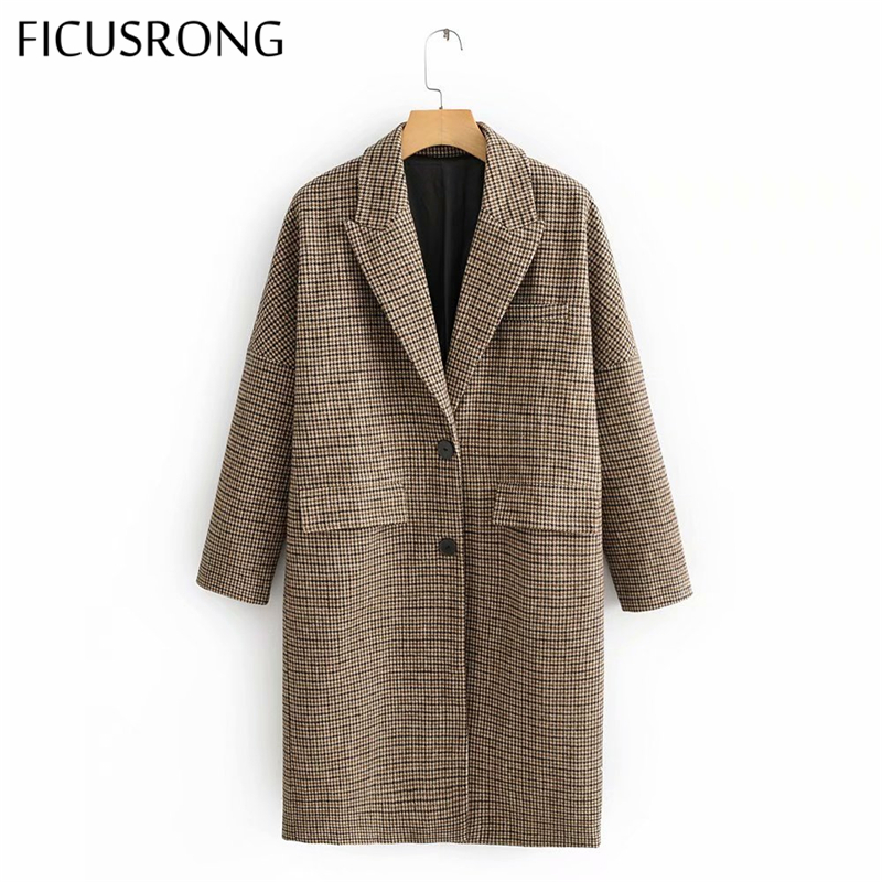 Casual Ladies Houndstooth Woolen Coat Long Sleeve Loose Plaid Coat Vintage Single Breasted Jacket Women Woolen Coat FICUSRONG
