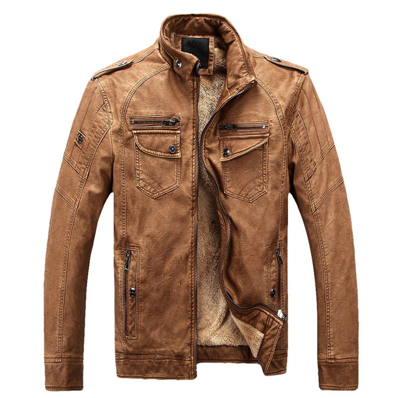 Luxury 2019 Leather Jackets Men Autumn Fleece Zipper Chaqueta Cuero Hombre Pockets Moto Jaqueta Masculino Couro Innrech Market.com