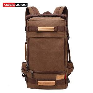 Image 1 - Magic union masculino mochila 20/22 polegada grande viagem mochila lona saco sling mochila caminhadas mochilas de acampamento para homens