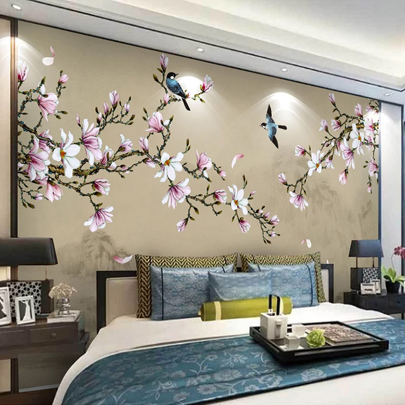 Custom 3D Photo Wallpaper Chinese Style Hand Painted Magnolia Flowers And Birds Large Mural Bedroom Living Room TV Background